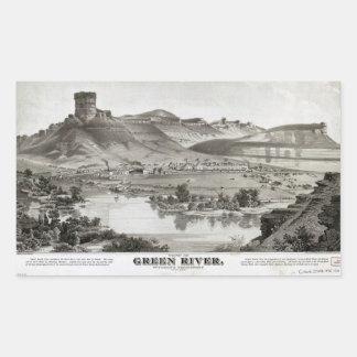 Adesivo Retangular Vista de Green River, território de Wyoming (1875)