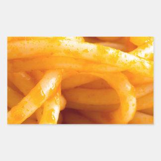 Adesivo Retangular Vista macro detalhada nos espaguetes cozinhados em