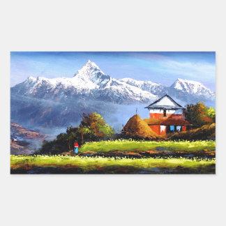 Adesivo Retangular Vista panorâmica da montanha bonita de Everest