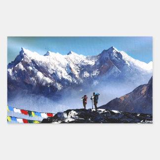 Adesivo Retangular Vista panorâmica da montanha máxima de Ama Dablam