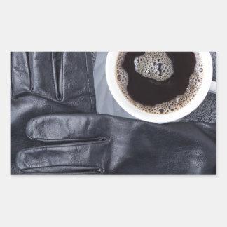 Adesivo Retangular Vista superior de uma chávena de café branca e de