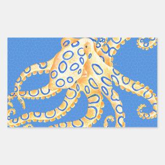 Adesivo Retangular Vitral azul do polvo