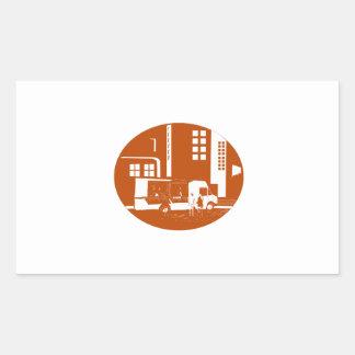 Adesivo Retangular Woodcut do Oval das construções da cidade do