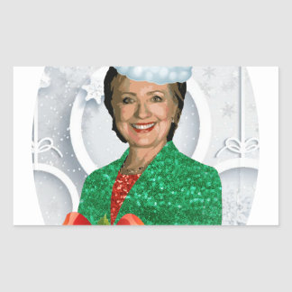Adesivo Retangular xmas Hillary clinton da feliz