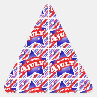 Adesivo Triangular 4o feliz do teste padrão do tema de julho