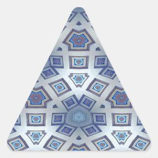 Adesivo Triangular A engrenagem geométrica artística azul gosta do