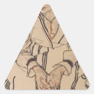 Adesivo Triangular A irmã do artista de Egon Schiele- na lei