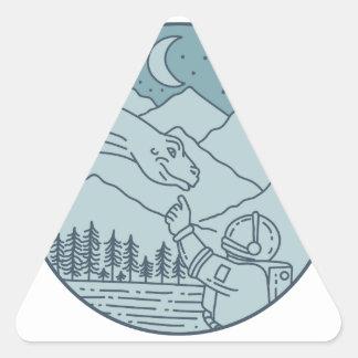 Adesivo Triangular A lua do Brontosaurus do astronauta Stars o