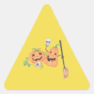 Adesivo Triangular Abóboras bonitos do Dia das Bruxas