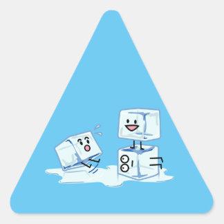 Adesivo Triangular água gelada do cubo dos cubos de gelo que desliza