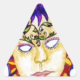 Adesivo Triangular Aguarela 2 da máscara do carnaval