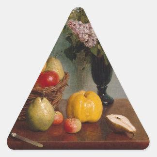 Adesivo Triangular Ainda vida com flores e fruta