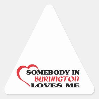 Adesivo Triangular Alguém em Burlington ama-me