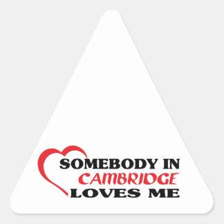 Adesivo Triangular Alguém em Cambridge ama-me