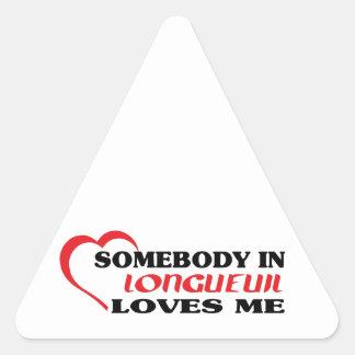 Adesivo Triangular Alguém em Longueuil ama-me