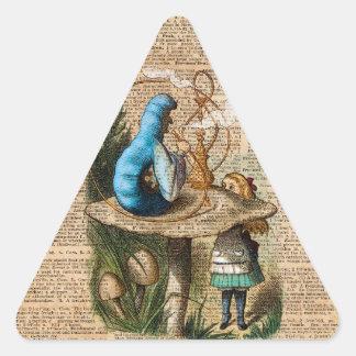 Adesivo Triangular Alice, cogumelo e Jin, arte do dicionário do