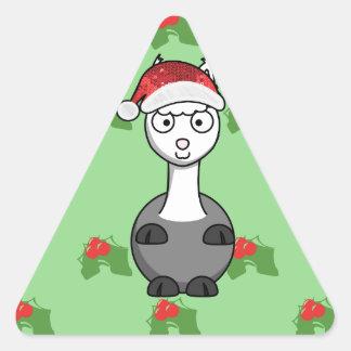 Adesivo Triangular alpaca do papai noel do Natal