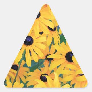 Adesivo Triangular Amarelo das flores de Susan de olhos pretos dentro