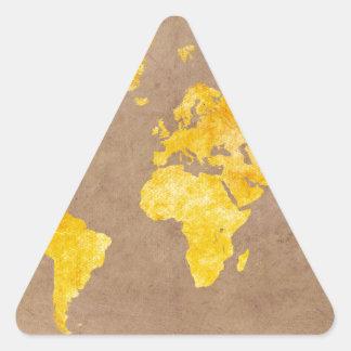 Adesivo Triangular amarelo do mapa do mundo