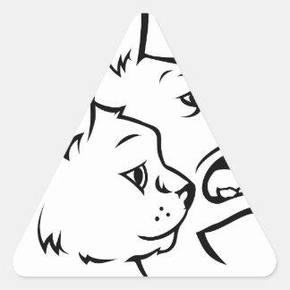 Adesivo Triangular Animais de estimação gato e ícone das caras do cão