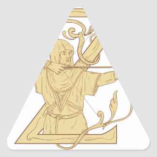 Adesivo Triangular Arqueiro medieval que aponta o desenhar da letra Z