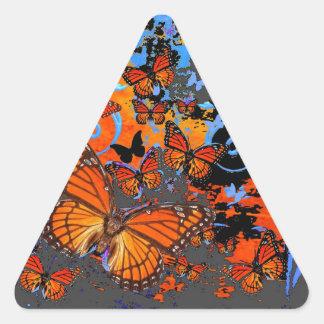Adesivo Triangular Arte do clima de tempestade das borboletas de