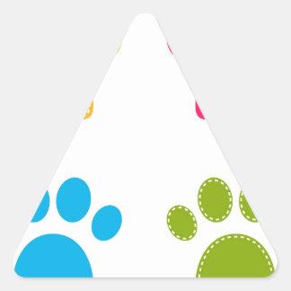 Adesivo Triangular As patas maravilhosas dos cães coloriram a edição