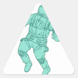 Adesivo Triangular Astronauta que flutua no desenho do espaço