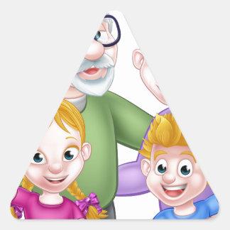 Adesivo Triangular Avós e netos dos desenhos animados