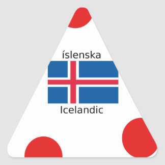 Adesivo Triangular Bandeira de Islândia e design islandês da língua