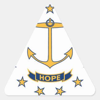 Adesivo Triangular Bandeira de Rhode - ilha
