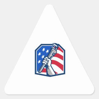 Adesivo Triangular Bandeira dos EUA da chave de tubulação da mão do