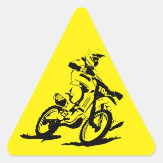 Adesivo Triangular Bicicleta e cavaleiro simples de Motorcross