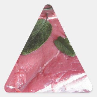 Adesivo Triangular Bife marmoreado cru fresco da carne