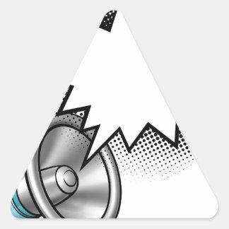 Adesivo Triangular Bolha do discurso da banda desenhada do megafone