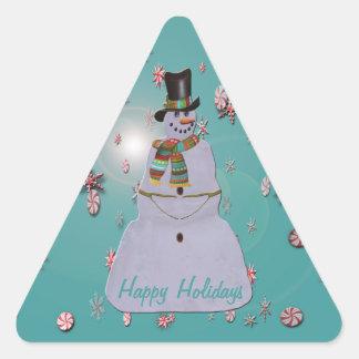Adesivo Triangular Boneco de neve do embaçamento azul