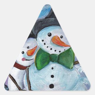 Adesivo Triangular Bonecos de neve de visita cardinais