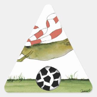 Adesivo Triangular cão do futebol dos vermelhos