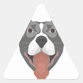 Adesivo Triangular Cão Pitbull de sorriso da ilustração