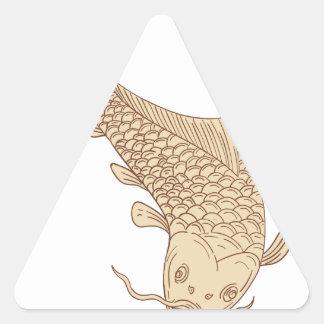 Adesivo Triangular Carpa de Koi Nishikigoi que mergulha abaixo do