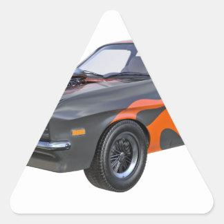 Adesivo Triangular carro do músculo dos anos 70 com chama alaranjada