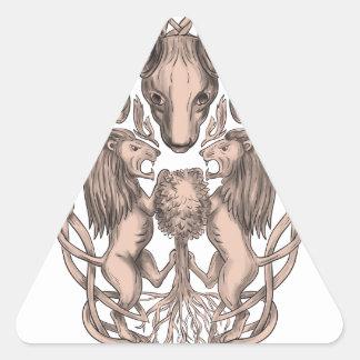 Adesivo Triangular Céltico Knotwo da brasão da árvore do leão dos