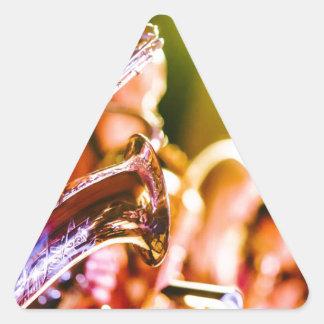 Adesivo Triangular Chifres dos saxofones dos instrumentos musicais da