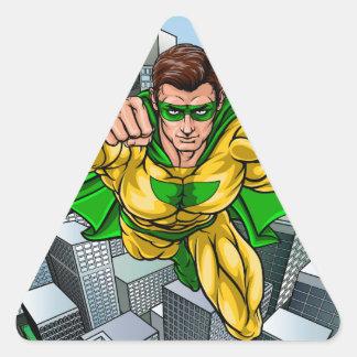 Adesivo Triangular Cidade do super-herói do vôo da banda desenhada