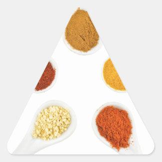 Adesivo Triangular Cinco especiarias de tempero em colheres da