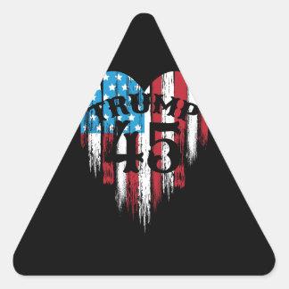 Adesivo Triangular Coração da bandeira americana do trunfo