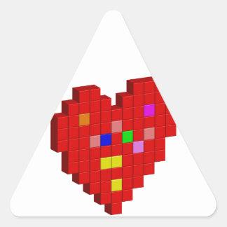 Adesivo Triangular coração de 8 bits