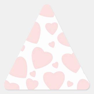 Adesivo Triangular Corações rosas pálido