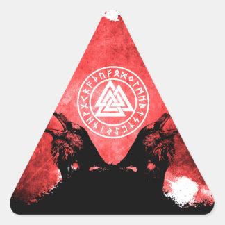 Adesivo Triangular Corvos de Huginn e de Muninn Odin