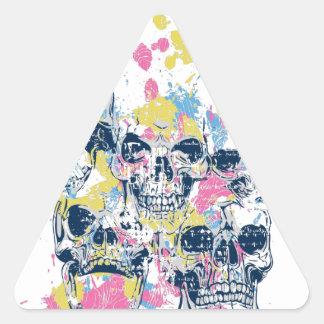 Adesivo Triangular crânios coloridos do vintage